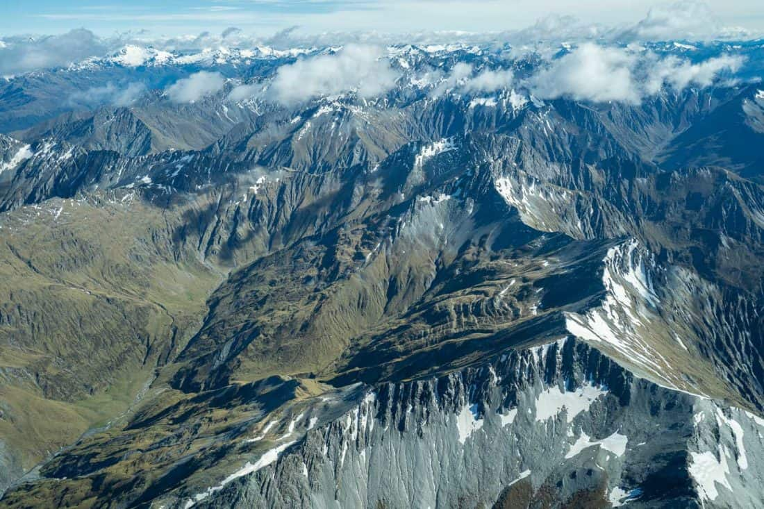 Mountain views on the flight from Queenstown to Milford Sound