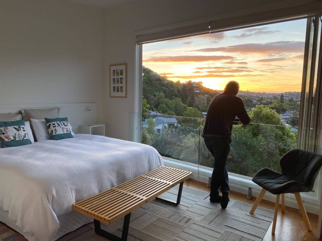 Sunset view from Airbnb studio in Nelson
