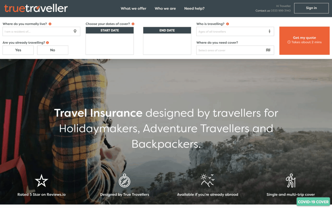 True Traveller insurance website