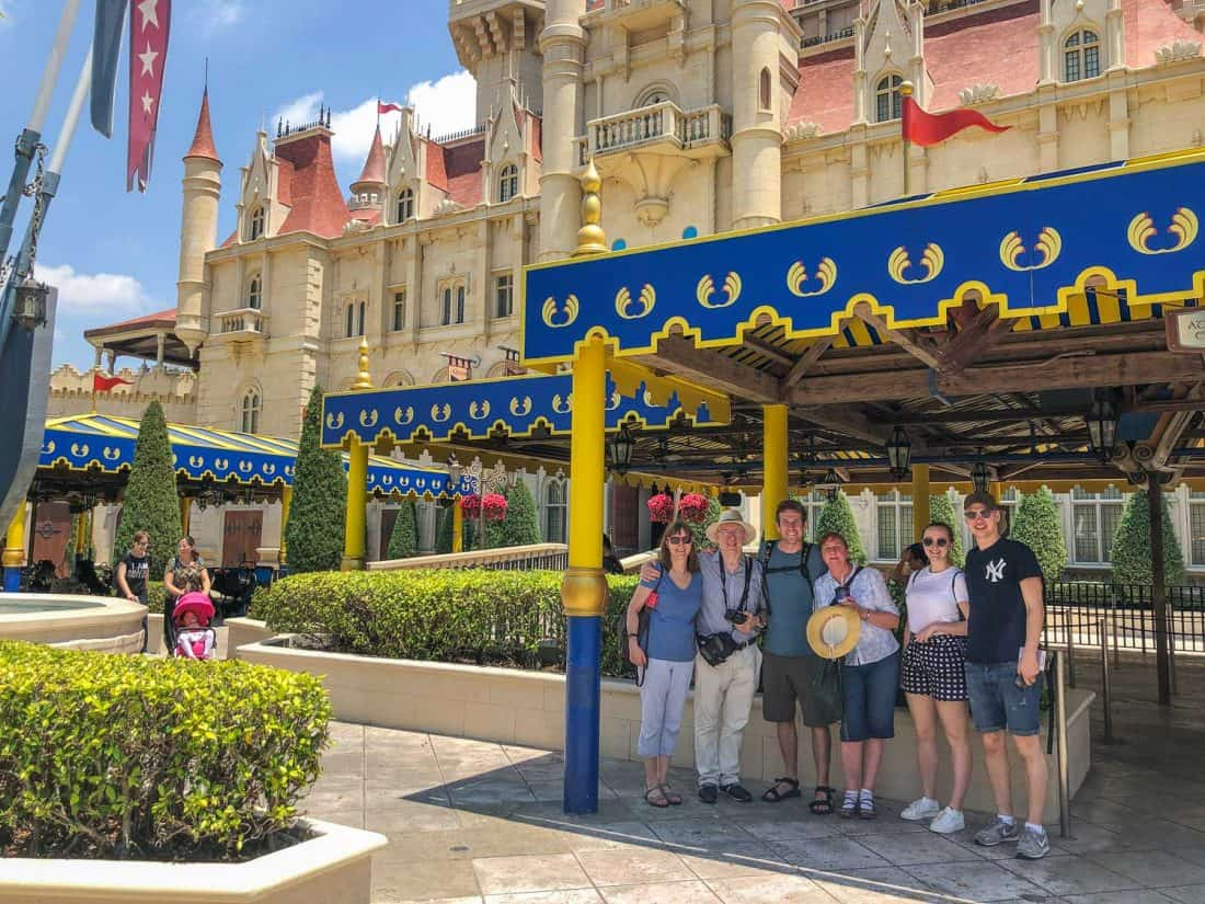 With my family outside the Shrek 4-D ride which takes place inside the Far Far Away Castle in Universal Studios Singapore