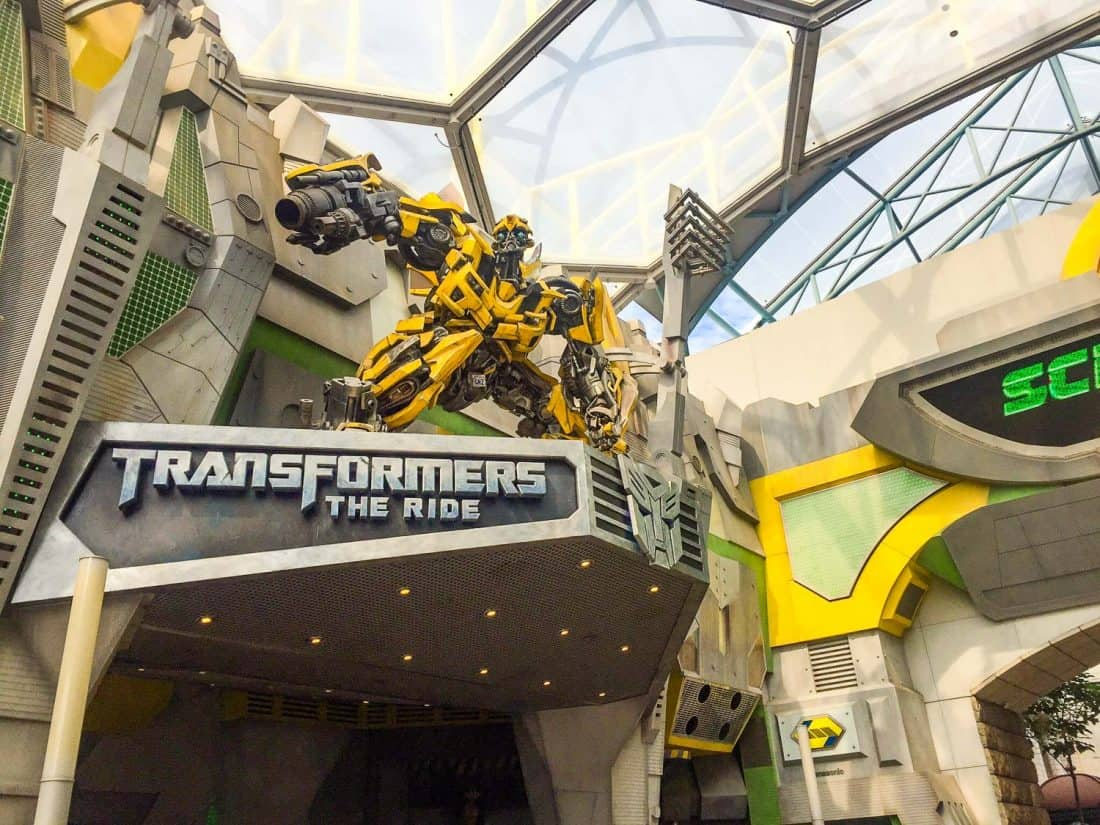A photo of the entrance to Transformers The Ride Universal Studios Singapore