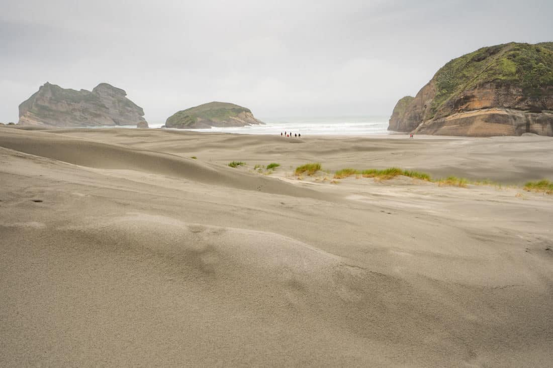 The sand dunes and rocks of Wharariki Beach in Golden Bay, New Zeland