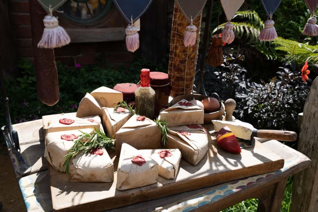 Cheese outside a hobbit hole at the Hobbiton Movie Set, Matamata