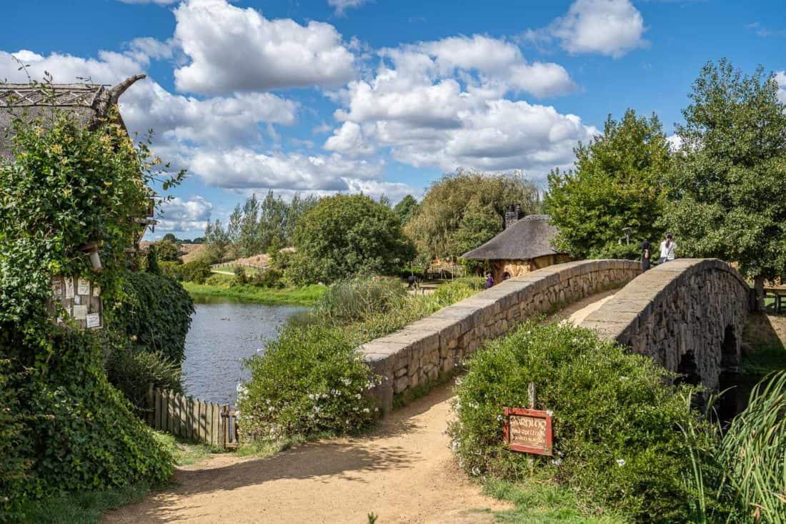 The water mill and stone bridge at Hobbiton Movie Set