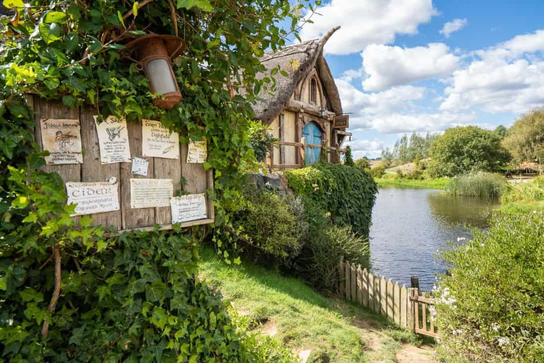 The noticeboard outside the water mill at Hobbiton village, New Zealand