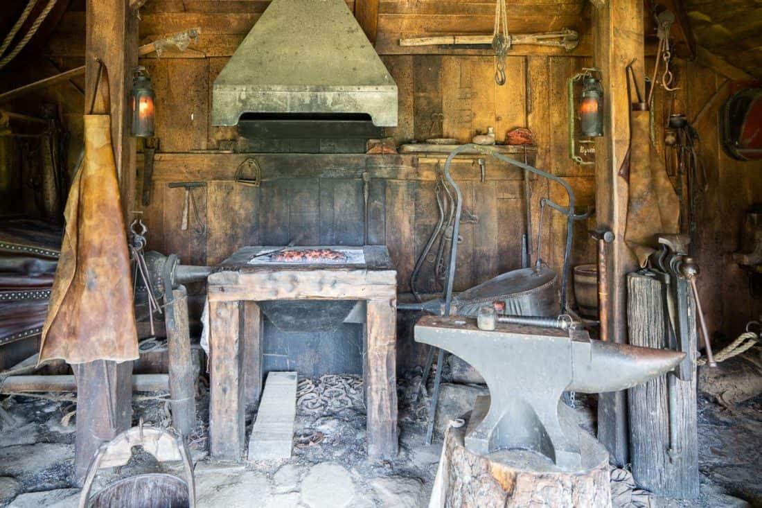 The blacksmiths at the Green Dragon Inn in Hobbiton village, New Zealand