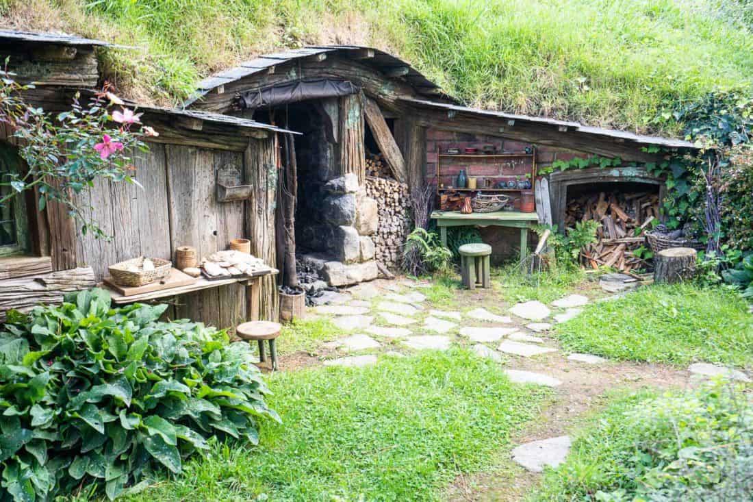 Wood shed in Hobbiton village, New Zealand
