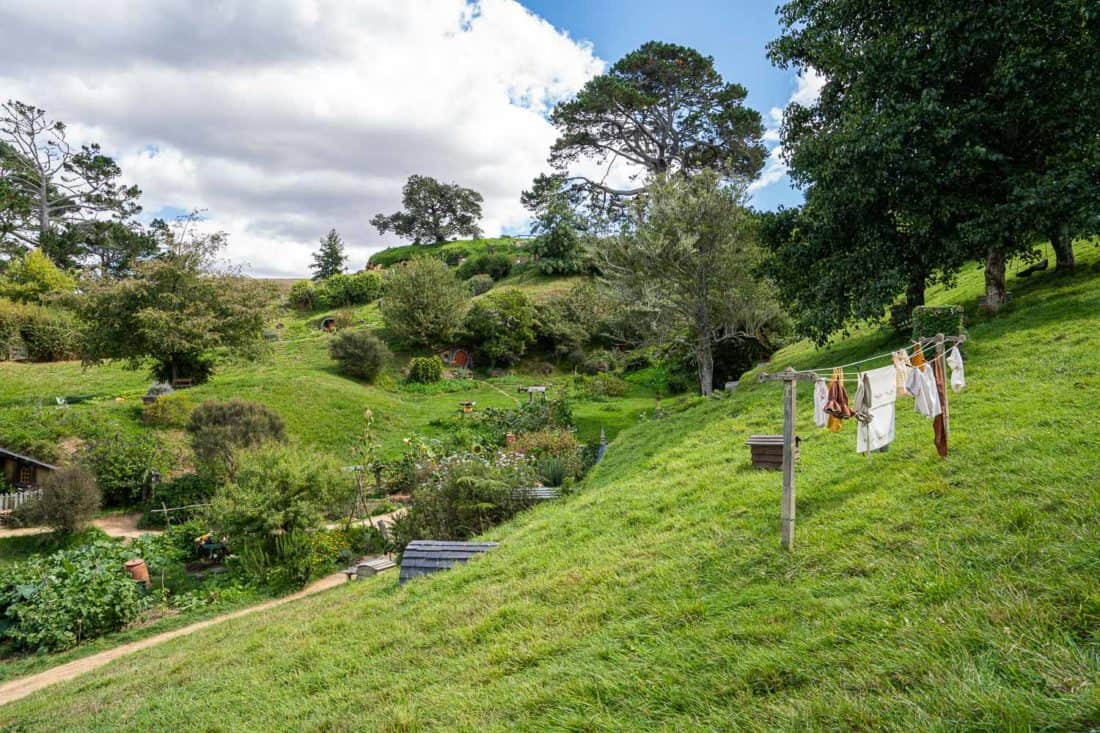 Clothing line and vegetable garden at Hobbiton village in New Zealand