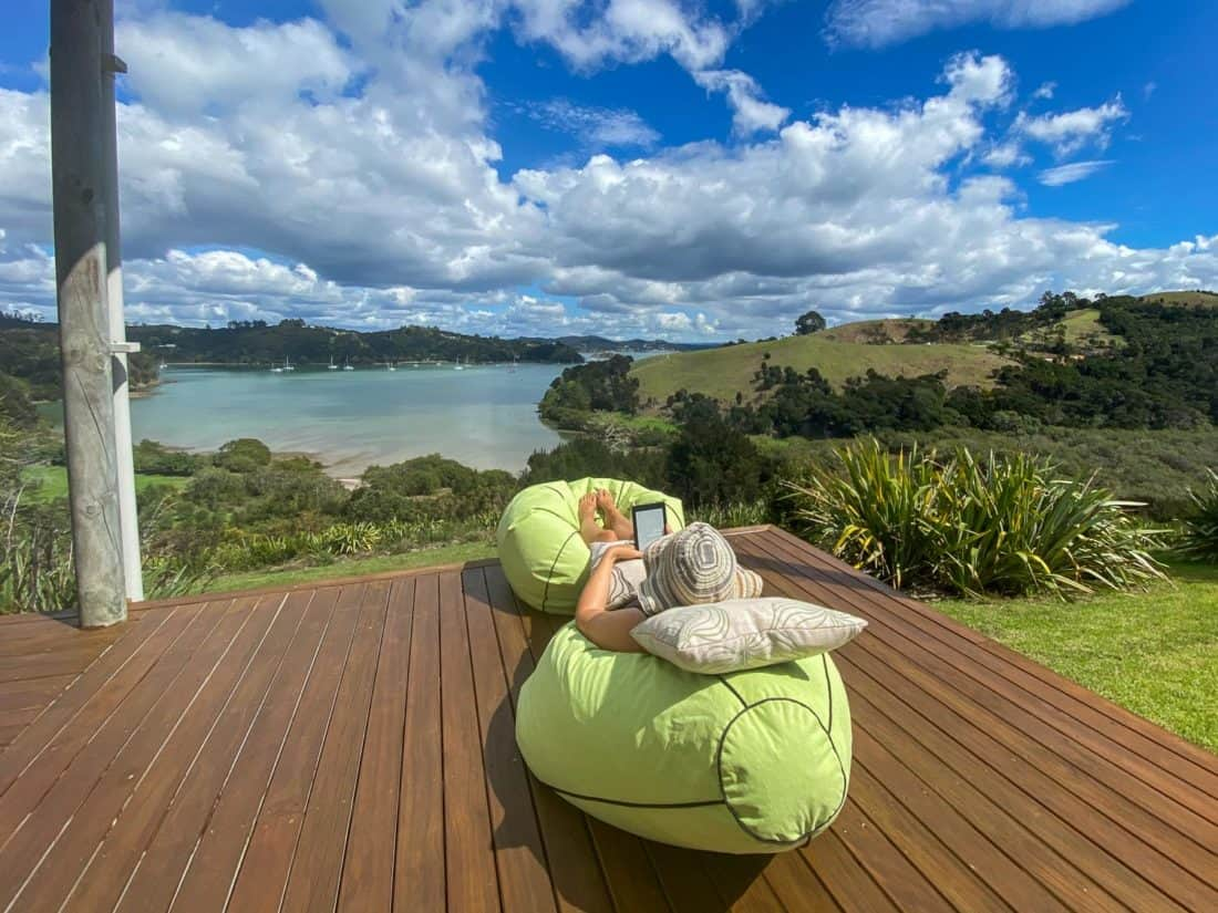 Relaxing in a beanbag on the terrace of our Russell Airbnb during my lockdown birthday