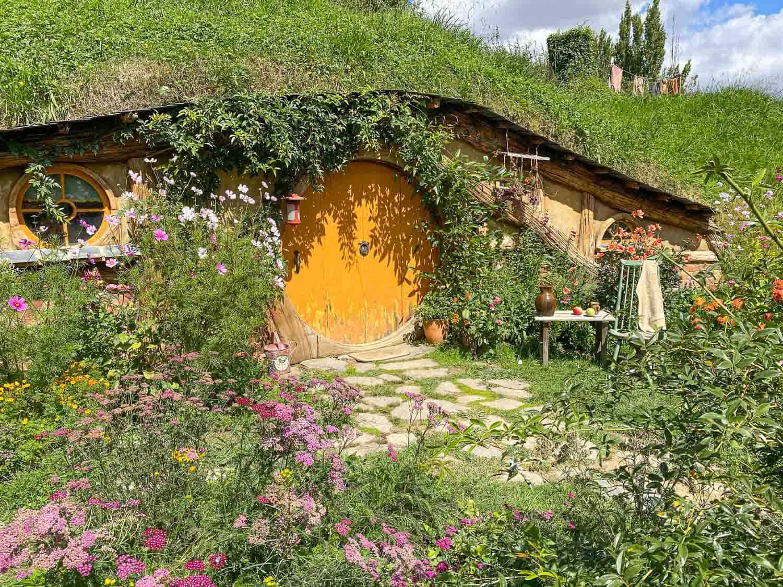 A Hobbit Hole at the Hobbiton Movie Set in New Zealand