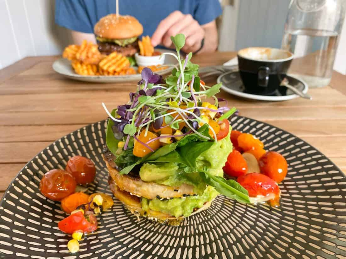 Avocado smash and bean burger at Morrisons cafe in Nelson
