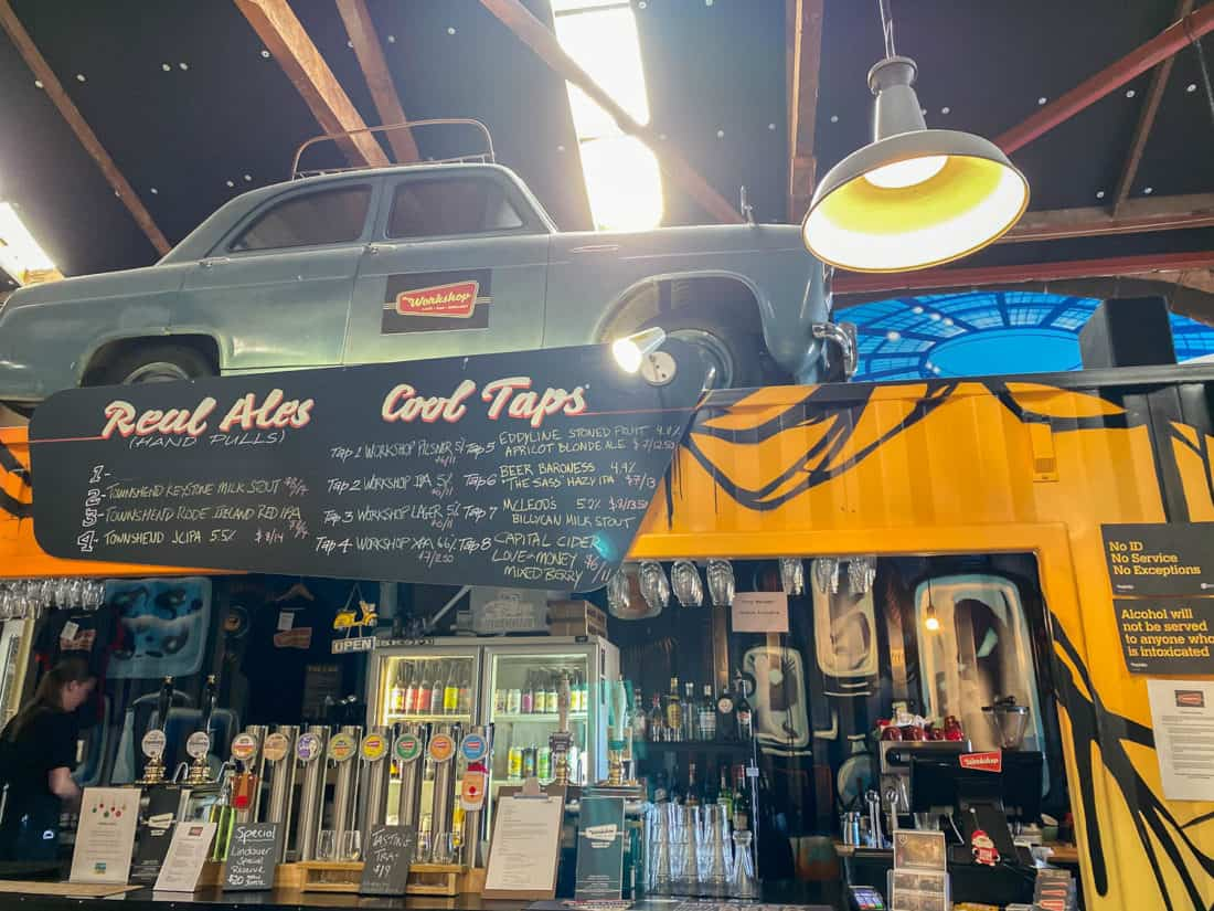 The vintage car at The Workshop bar in Nelson, New Zealand