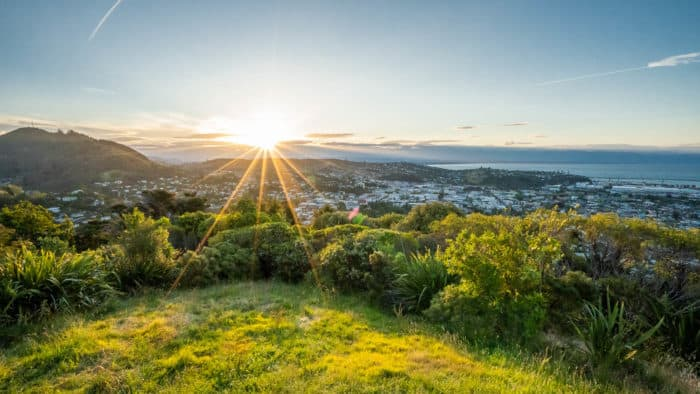 View of Nelson New Zealand from the Centre of New Zealand viewpoint