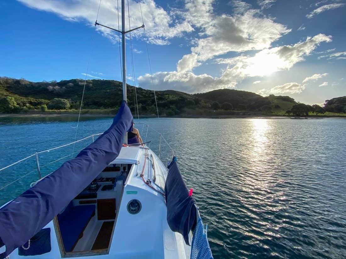 Anchored at Army Bay on Moturua Island, Bay of Islands, New Zealand