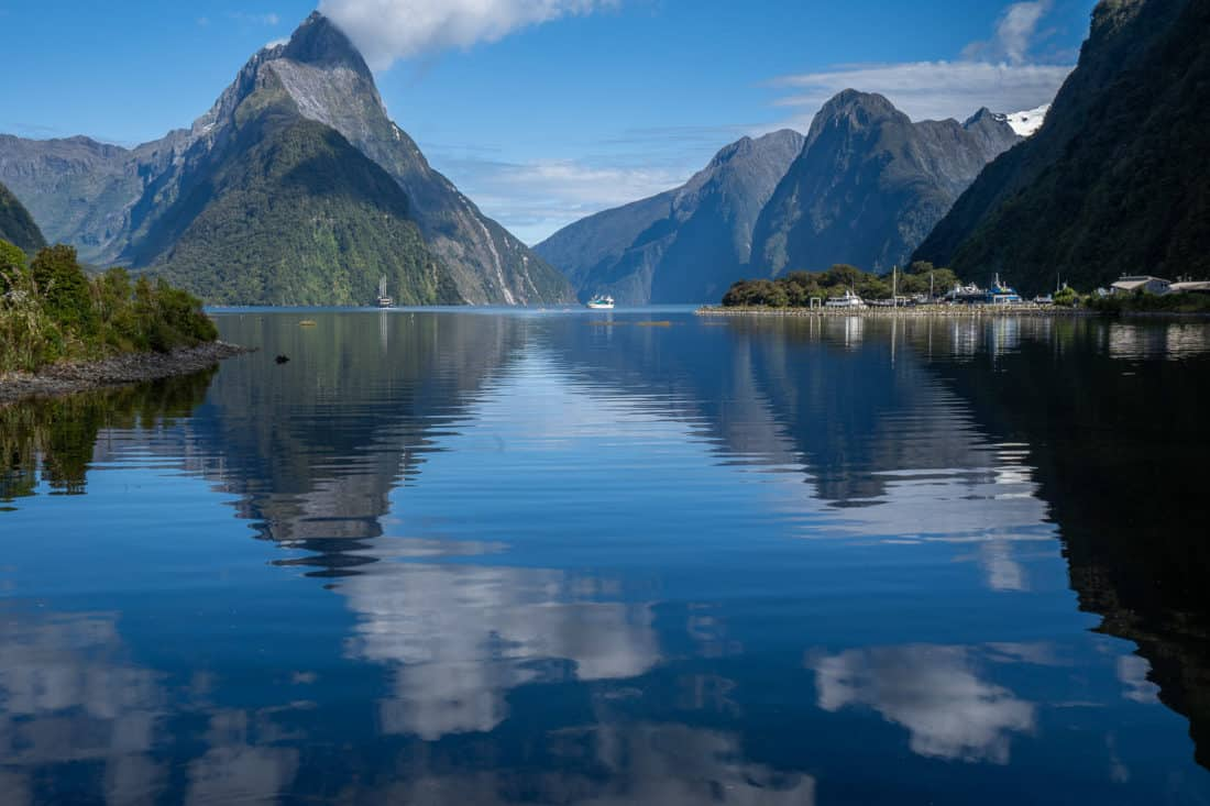 Mitre Peak reflected in the water at Milford Sound