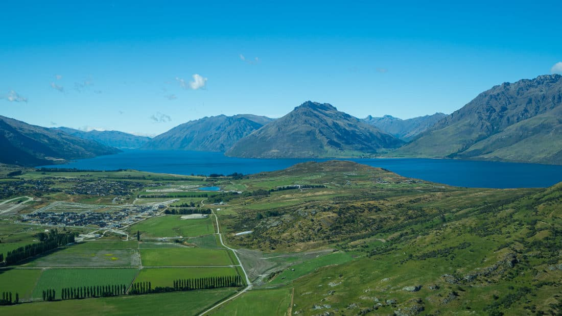 Flying over Lake Wakatipu near Queenstown in the summer on the way to Milford Sound