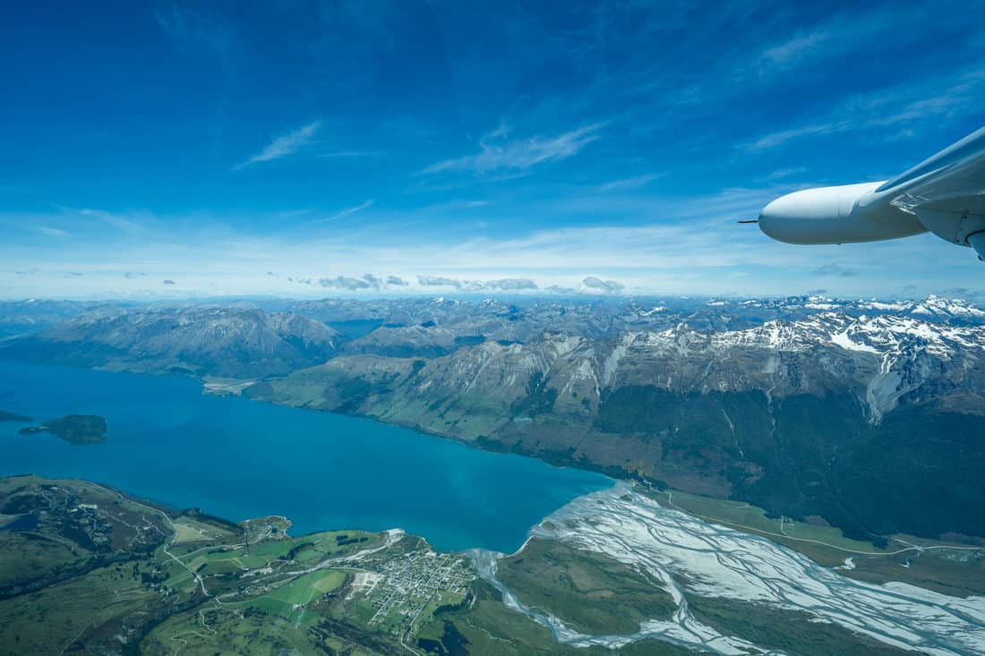 Flying over Lake Te Anau on a Milford Sound scenic flight