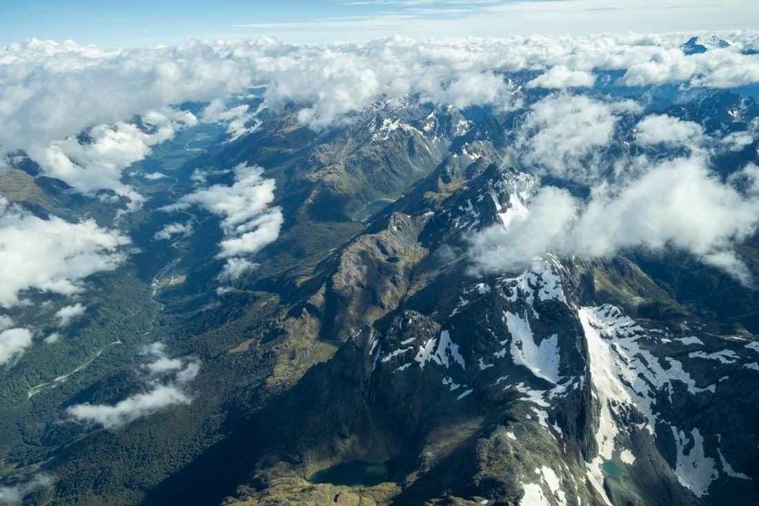Southern Alps on a scenic flight from Queenstown to Milford Sound