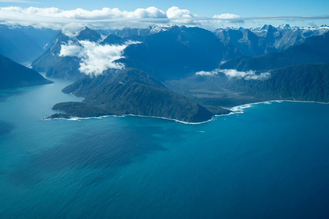 Entrance from the sea to Milford Sound taken from a plane from above