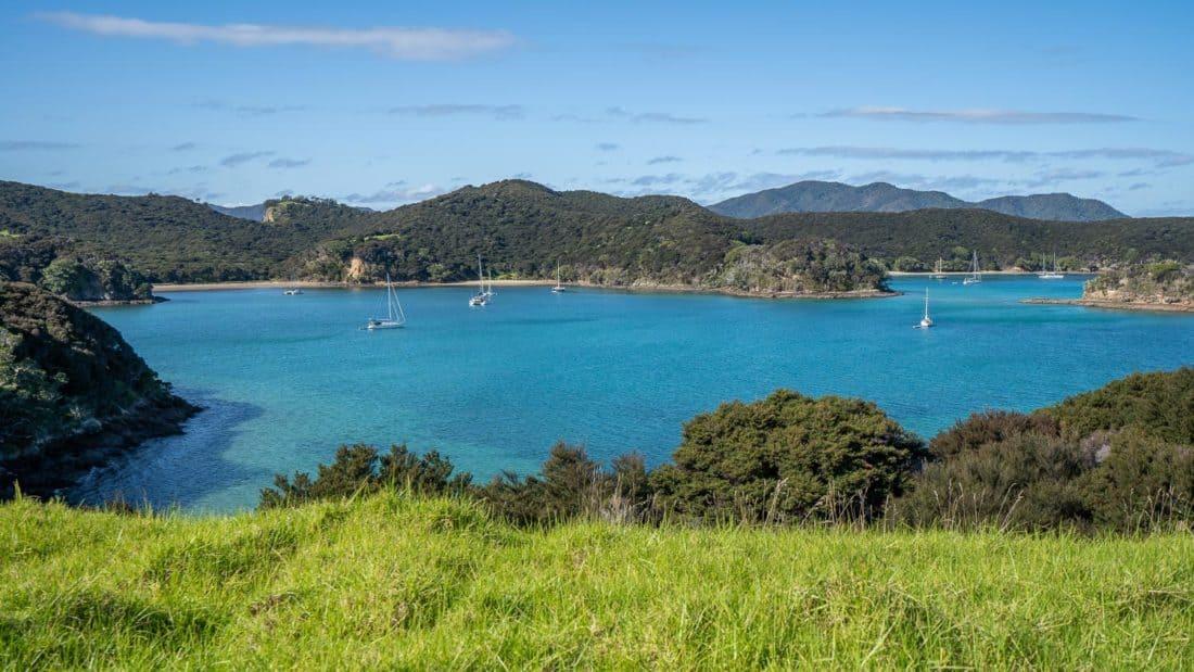 Yachts anchored at Entico Bay and Paradise Bay on Urupukapuka Island