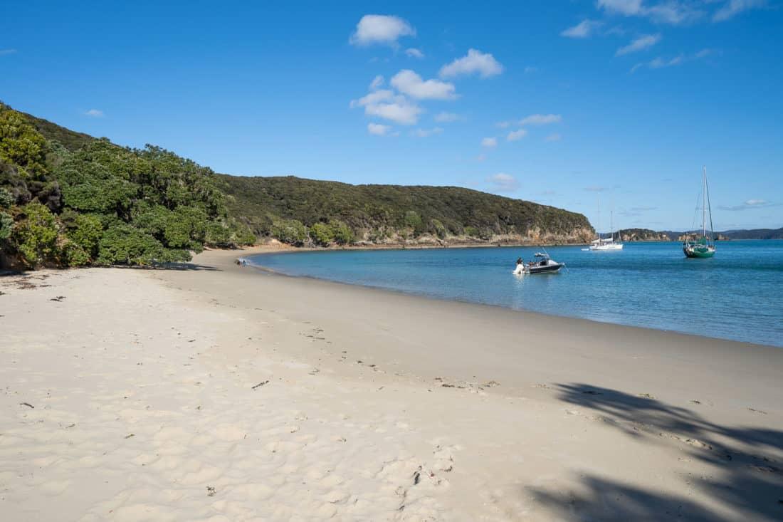 The white sand beach at Paradise Bay on Urupukapuka Island