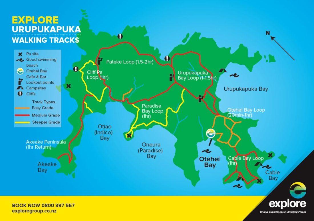 Urupukapuka Island walks map from Explore