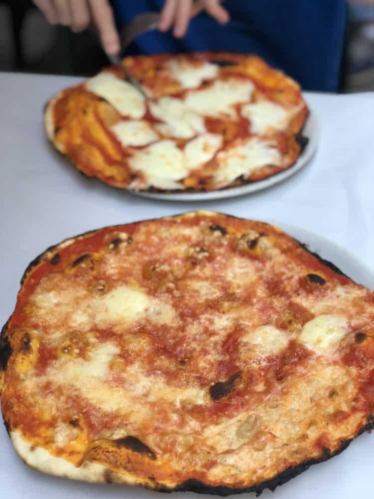 Roman style thin crust pizza at Da Remo in Rome.
