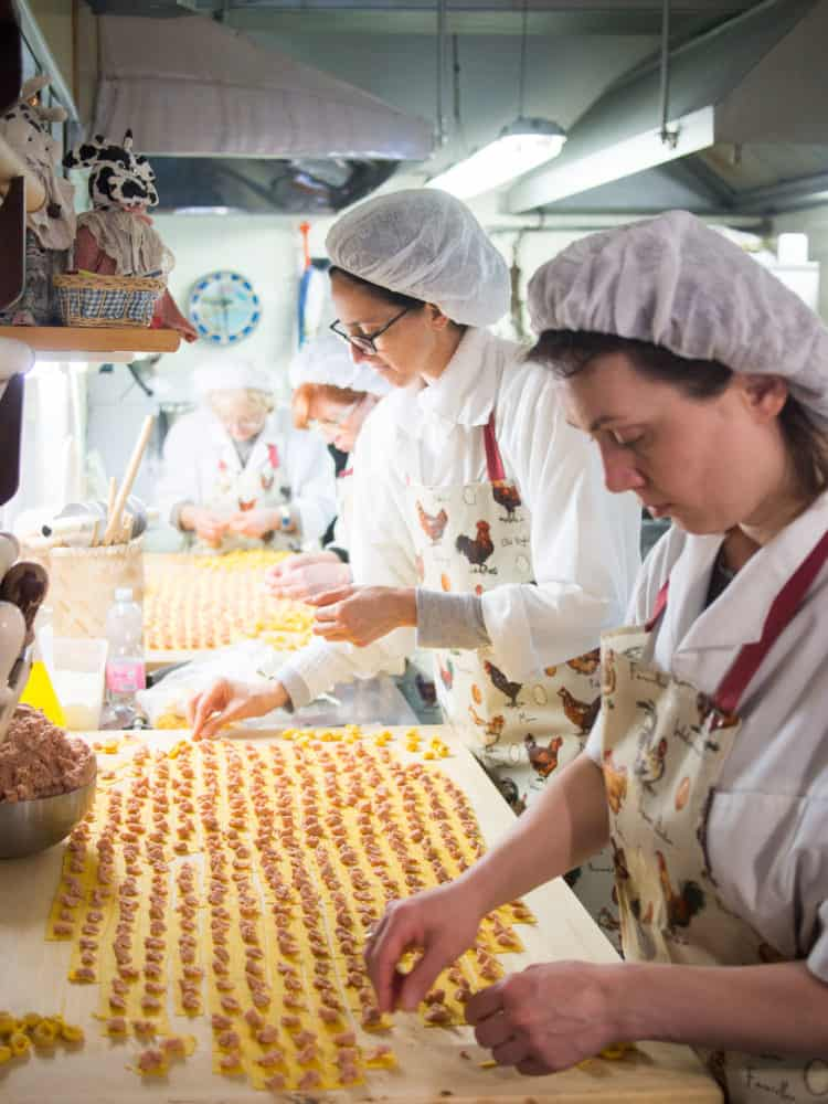 Tortellini being made in a local pasta shop in Bologna, Italy