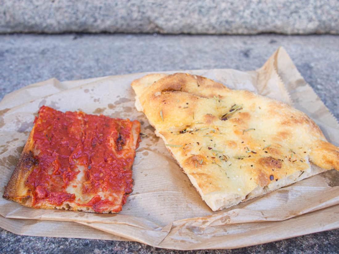 Pizza rossa and pizza bianca from Antico Forno Roscioli in Rome
