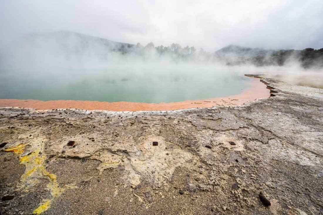 Champagne Pool at Wai o Tapu geothermal park near Taupo and Rotorua in New Zealand