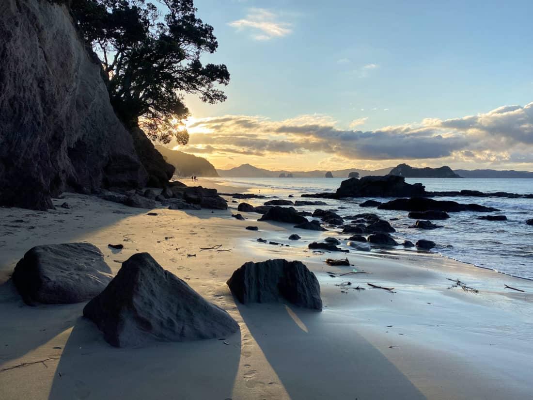 Sunset at Hahei Beach on the North Island, New Zealand
