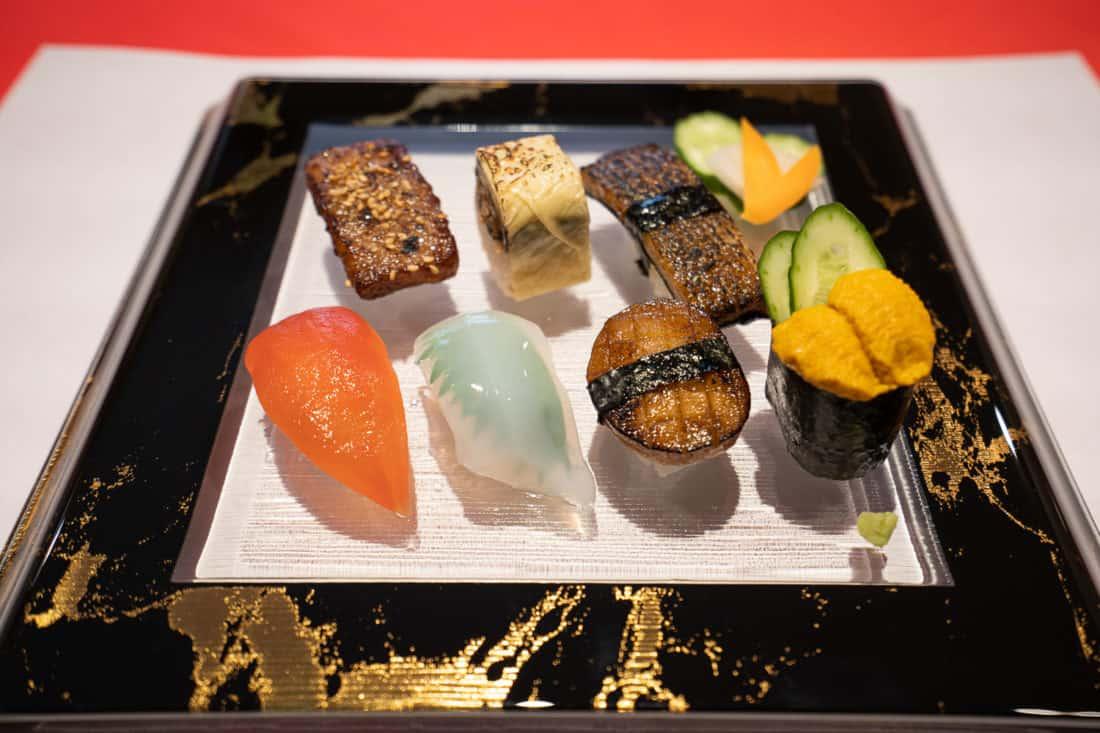 Vegan sushi at Little Heaven vegetarian restaurant in Kyoto