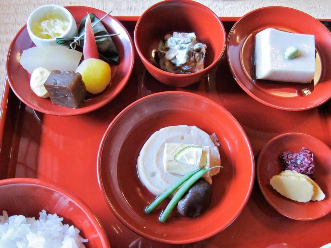 Shojin ryori in Kyoto at Shigetsu vegetarian restaurant in Tenruji temple in Arashiyama