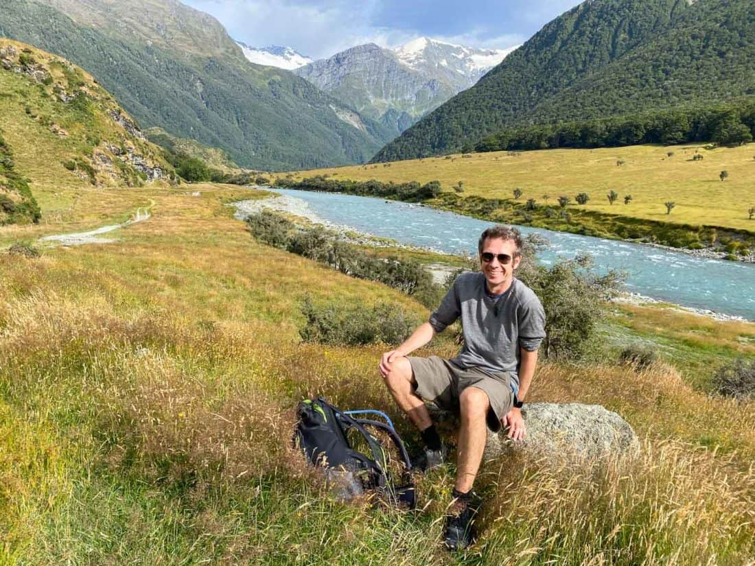 Simon on a hike in Mount Aspiring National Park