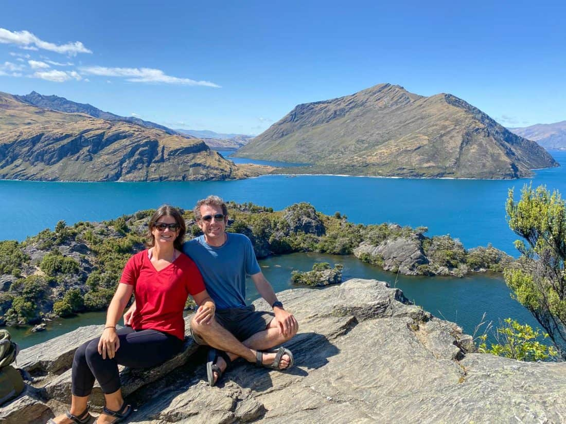 Erin and Simon at the viewpoint on Mou Waho Island, one of the best things to do in Wanaka