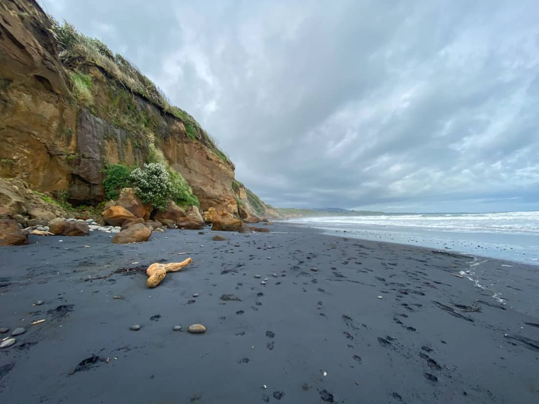 The black sand and orange cliffs of Back Beach in New Plymouth