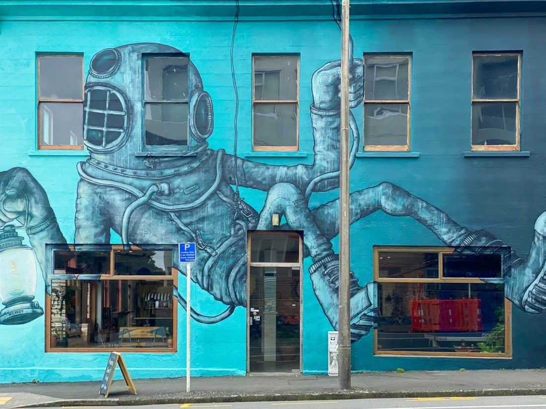 Street art covered Escape Coffee Roasters in New Plymouth, Tarnanaki