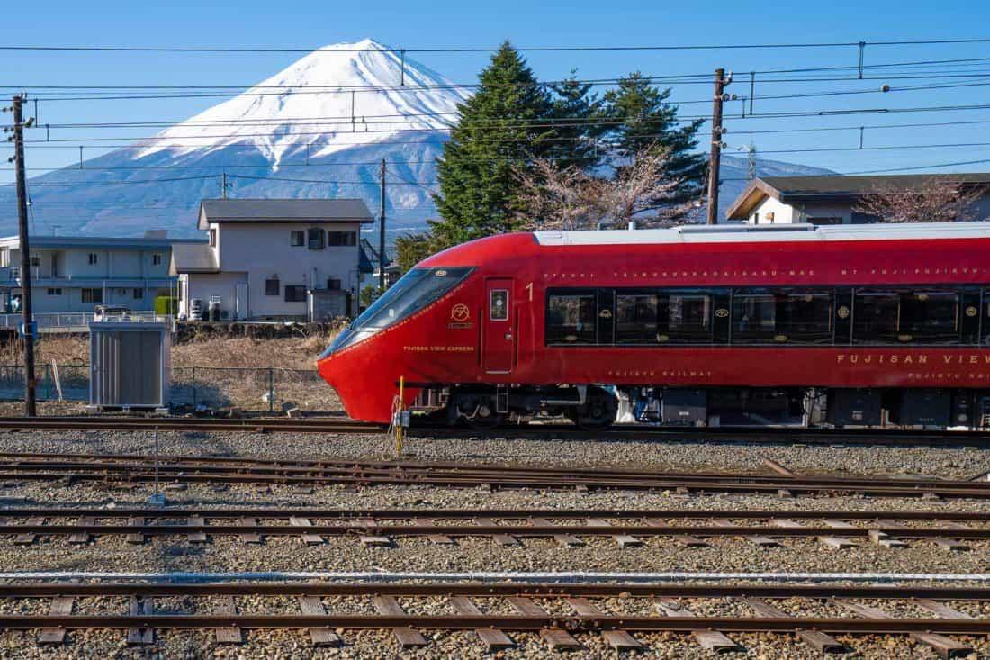 Fujisan View Express train with Mount Fuji behind