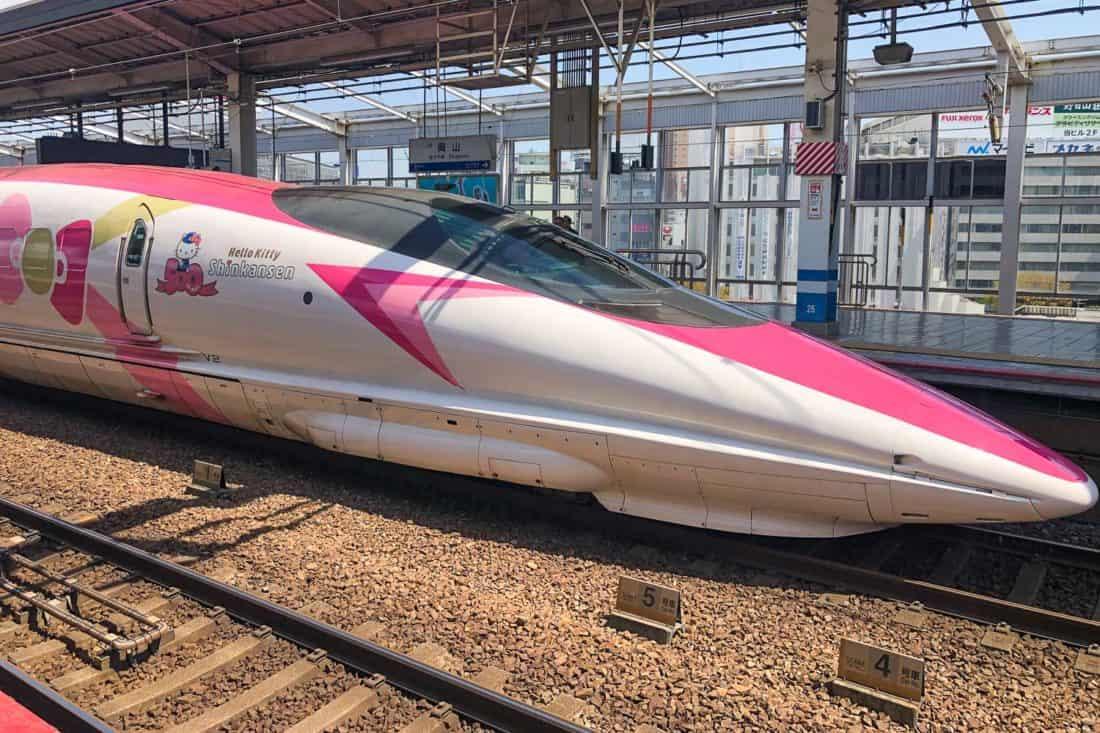 Hello Kitty Shinkasen bullet train in Japan