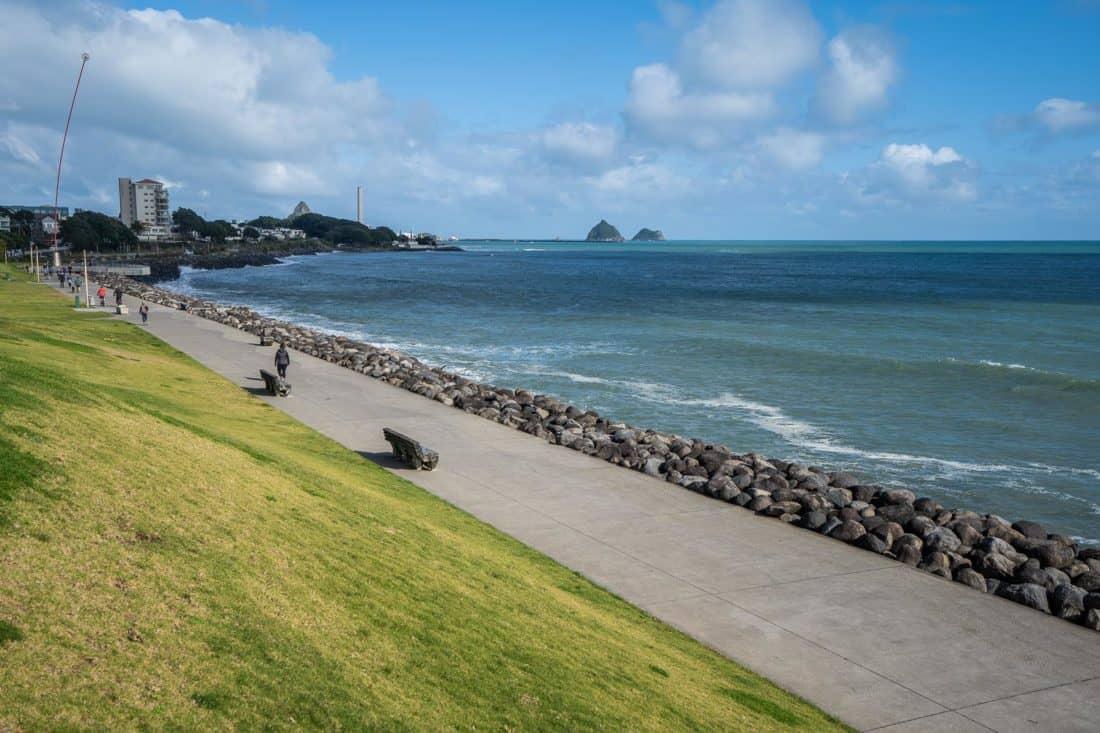 The Len Lye Wind Wand on the New Plymouth Coastal Walkway in Taranaki, New Zealand