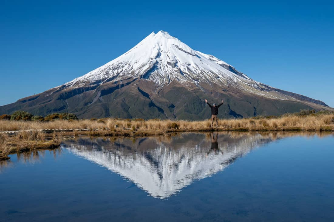 The reflection of Mt Taranaki in Pouakai Tarn, New Zealand