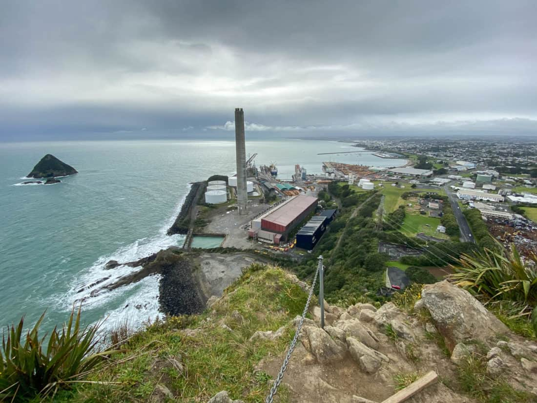 The view of New Plymouth port from the top of Paritutu Rock