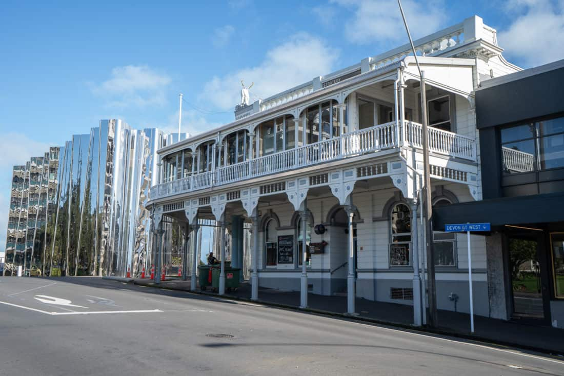 The White Hart Hotel next to the Govett-Brewster Art Gallery in New Plymouth, Taranaki