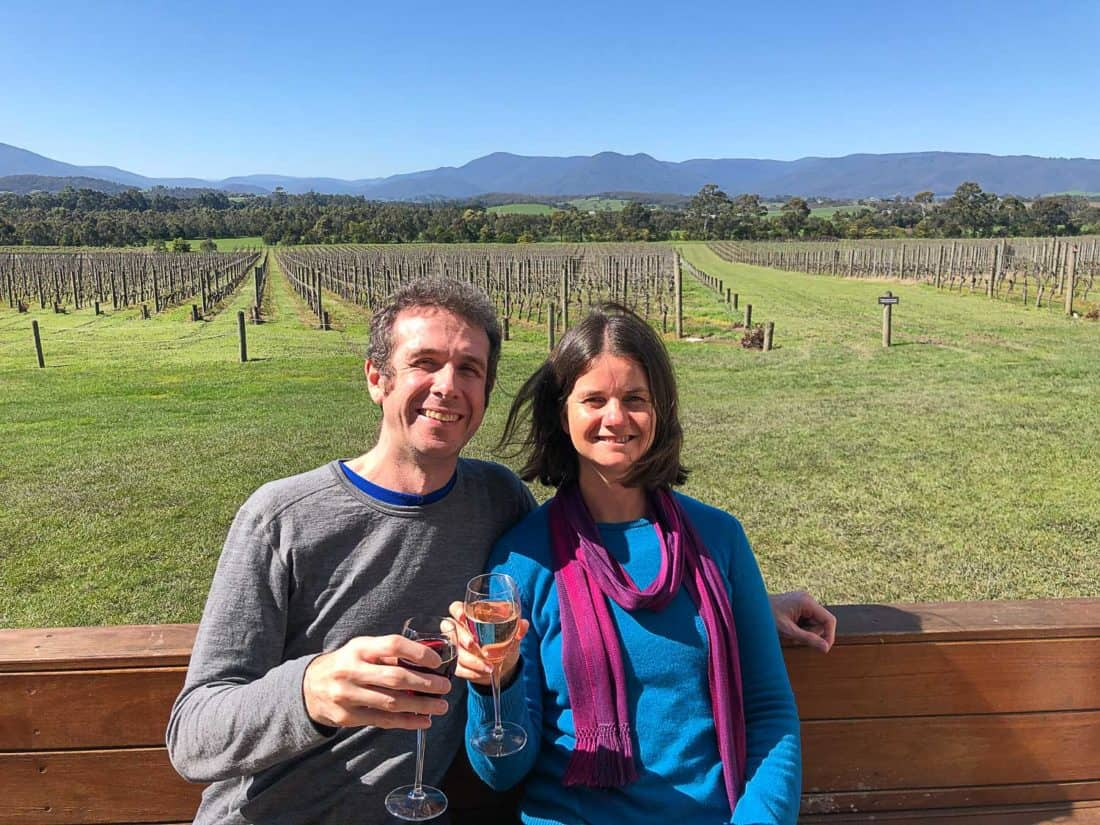 Simon and Erin at Domain Chandon winery in Yarra Valley near Melbourne