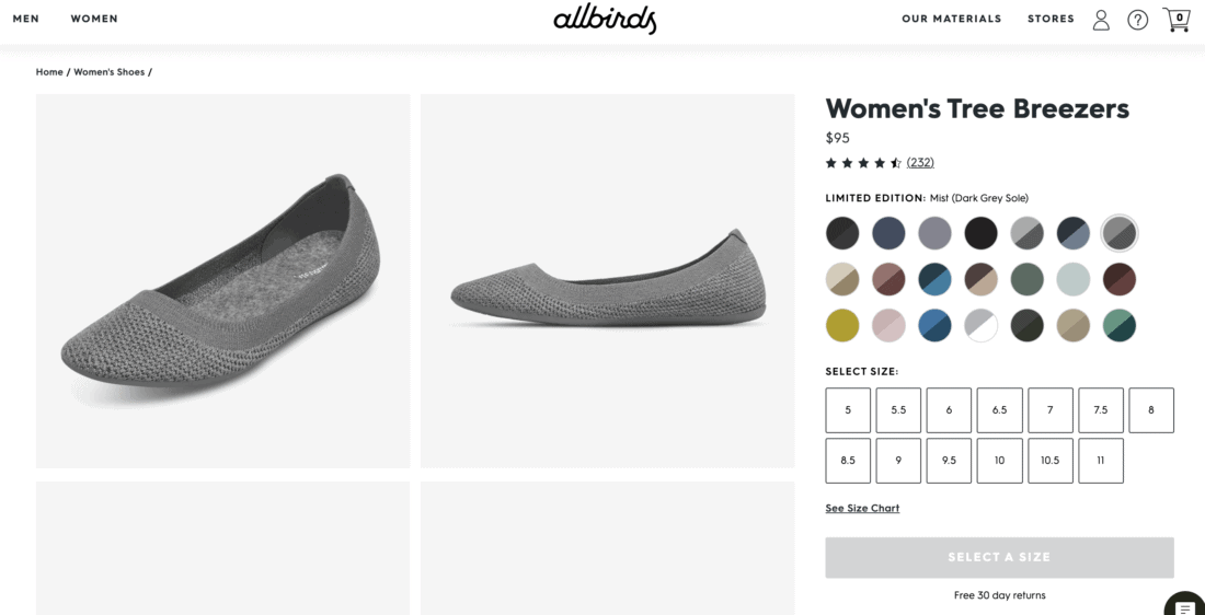Allbirds Tree Breezers women's flats on Allbirds website