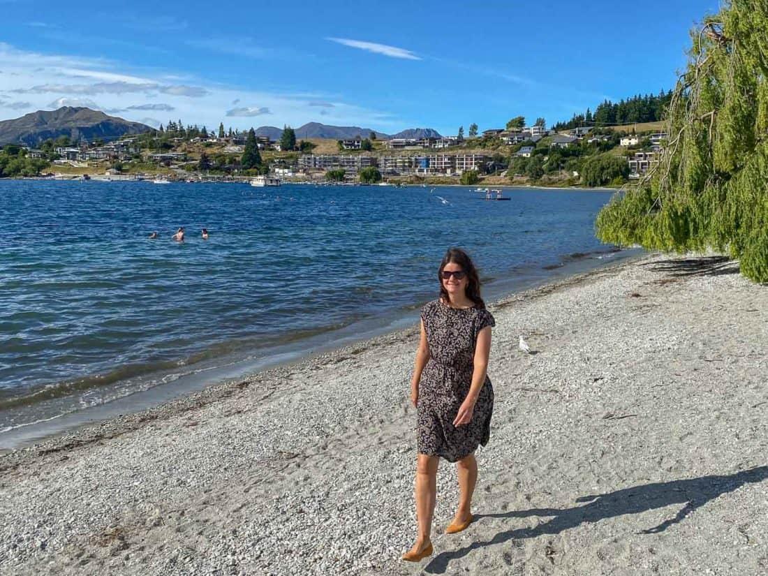 Walking at Lake Wanaka in Allbirds Breezers