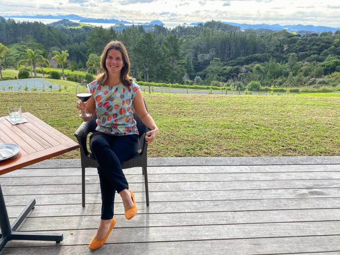 Wearing Allbirds flats at a winery in Bay of Islands