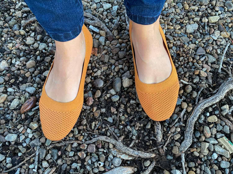 Allbirds Tree Breezers Review - Allbirds flats in orange Poppy colour