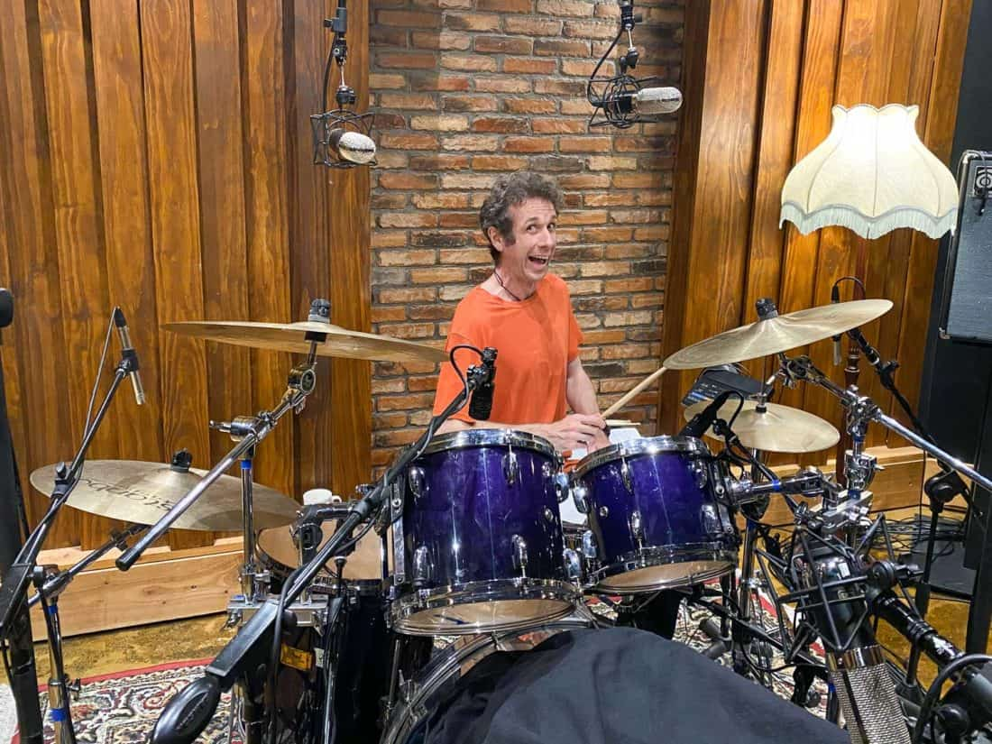 Simon recording drums at The Armoury music studio in Wellington
