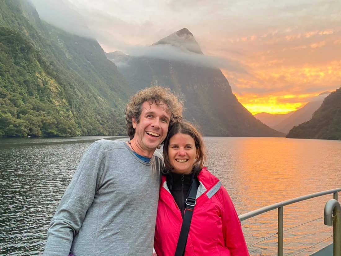 Simon and Erin at sunset on an overnight cruise in Doubtful Sound